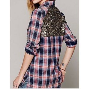 Free People Sequin Flannel Button-down